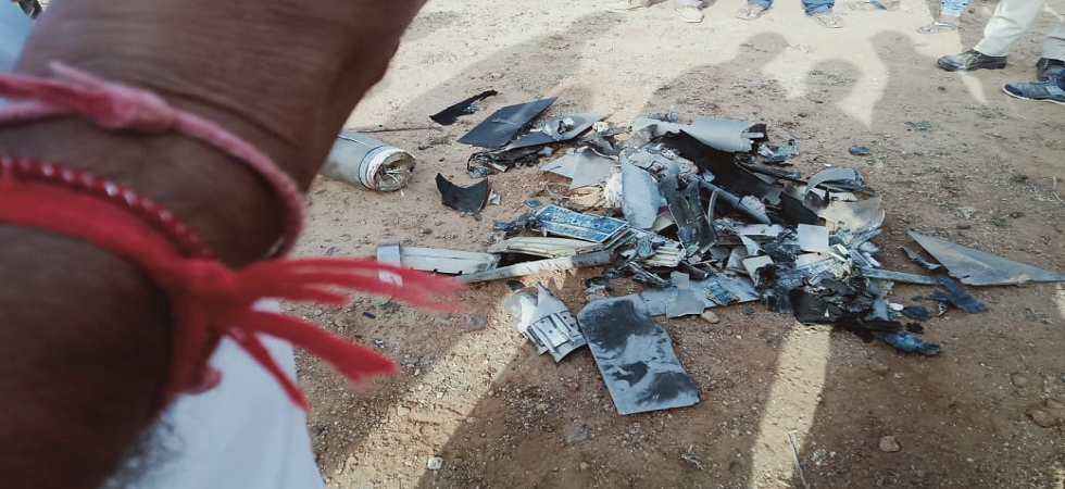 On hearing a loud sound around 6 am, villagers went to the spot and found the debris of the UAV.