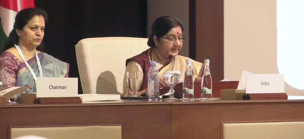 External Affairs Minister Sushma Swaraj during OIC address. (Photo: Twitter/ANI)