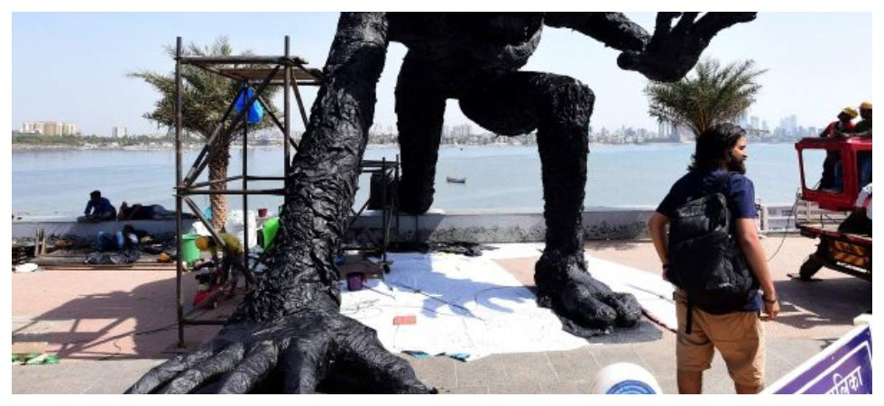 Plastic Monster installed at Bandra to Raise Awareness about Plastic disposal (Photo: Twitter)