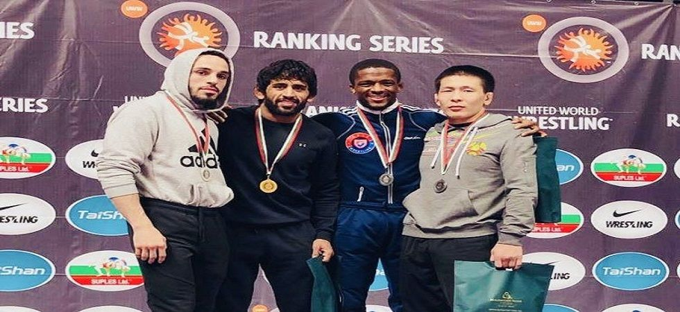 Bajrang Punia won the 65kg freestyle gold medal by beating USA's Jordan Oliver 12-3 in the final. (Image credit: Bajrang Punia Twitter)