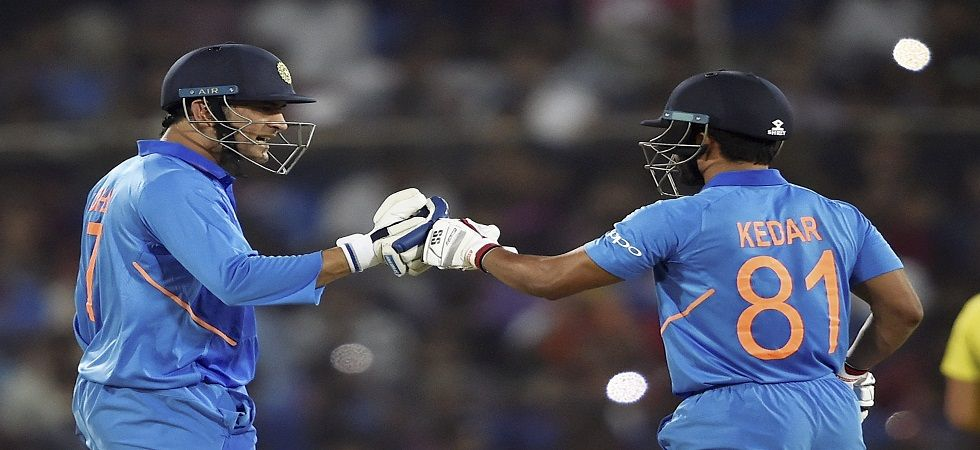 Kedar Jadhav blasted 81 and MS Dhoni hit his 71st ODI fifty to help India win the first ODI in Hyderabad by six wickets. (Image credit: PTI)