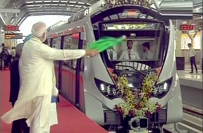 PM Modi flags off and inaugurates extension to Metro Rail projects in Ahmedabad