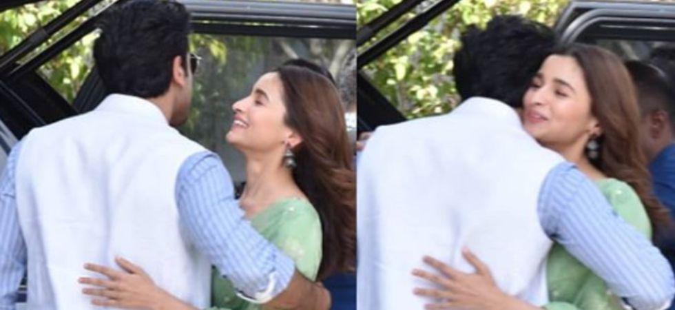Ranbir Kapoor gives Alia Bhatt a warm hug outside the Mumbai airport./ Image: Instagram