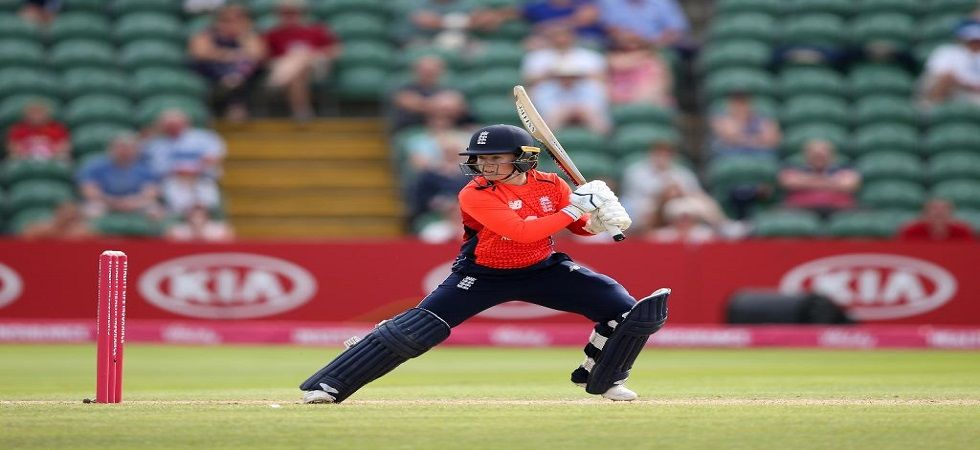 Danielle Wyatt slammed an aggressive fifty as England won the match by five wickets. (Image credit: Twitter)