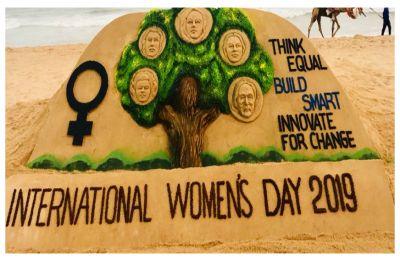 International Women's Day 2019: Acclaimed artiste Sudarsan Pattnaik creates stunning sand 'picture' at Odisha's Puri Beach