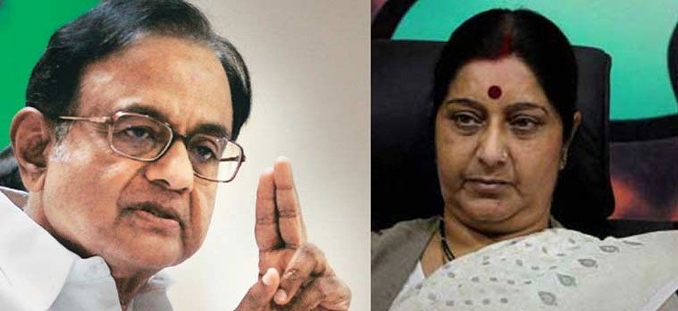 Former Finance Minister P Chidambaram (Left), External Affairs Minister Sushma Swaraj (Right)