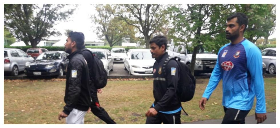 The Bangladesh cricket team members had to return back as they were getting ready to offer prayers at the Al-Noor mosque which is a kilometer away from the Hagley Oval. (Image credit: Twitter)