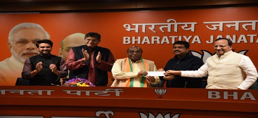 Rout joined the BJP in the presence of union minister Dharmendra Pradhan and party general secretary and in-charge of Odisha Arun Singh. (Photo: Twiiter/@dpradhanbjp)