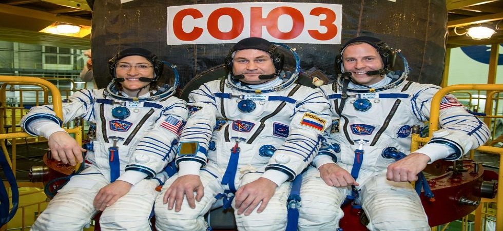 NASA astronaut Nick Hague and his Russian colleague Alexey Ovchinin, who both survived a dramatically aborted Soyuz launch last year, were joined on the smoothly-executed trip by NASA astronaut Christina Koch. (Photo: Twitter/NASA)