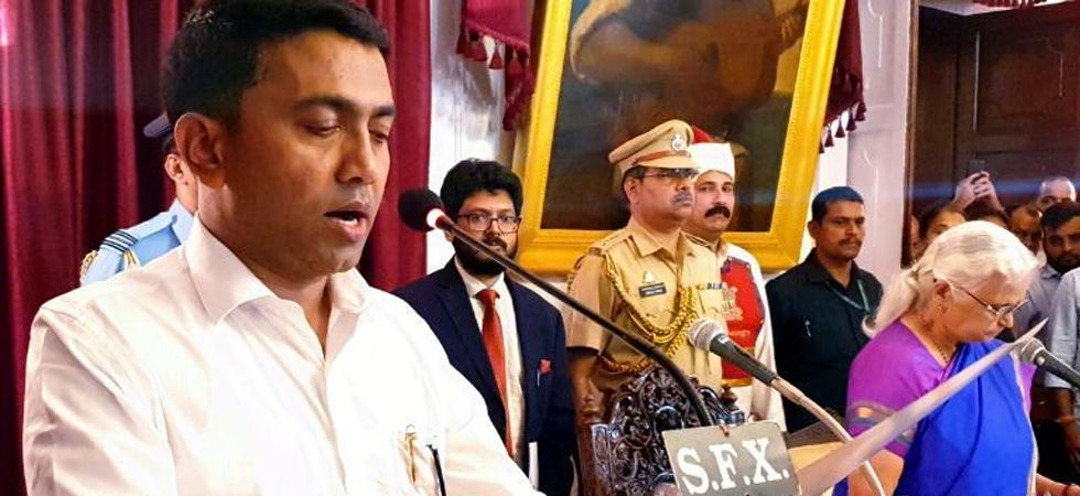Pramod Sawant taking oath as Goa Chief Minister