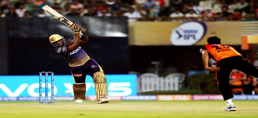 Andre Russell blasted 49 off 19 balls, including four fours and four sixes as Kolkata Knight Riders won by six wickets against Sunrisers Hyderabad. (Image credit: Twitter)