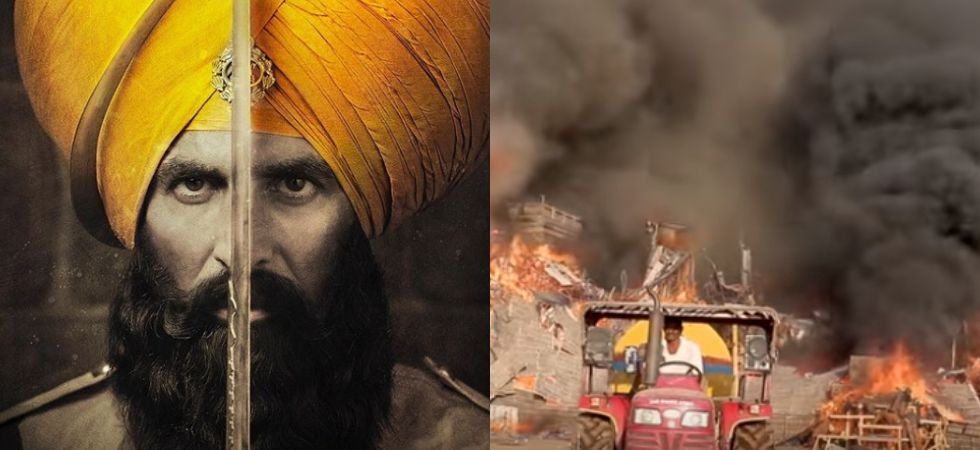 Akshay Kumar reveals that the entire sets of Kesari was engulfed by fire.
