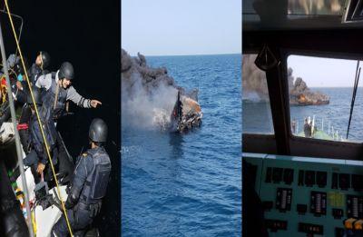 Stunning mid-sea chase ends in massive blast: How Indian Coast Guard intercepted drug boat off Porbandar coast, see pics
