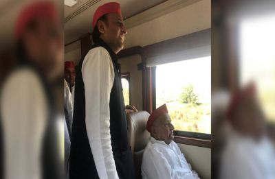 Mulayam Singh Yadav, accompanied by son Akhilesh, files nomination from Mainpuri