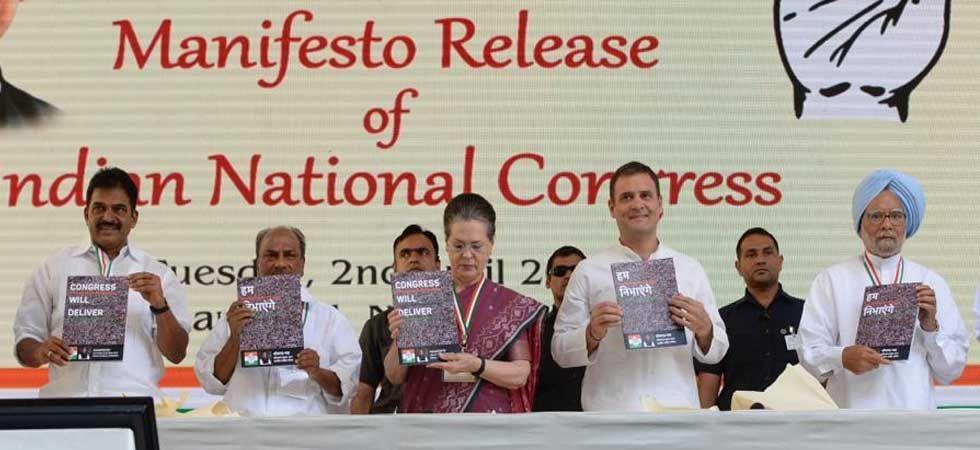 From right to left - Manmohan Singh, Rahul Gandhi, Sonia Gandhi, AK Antony and KC Venugopal (Photo: Twitter/@INCIndia)