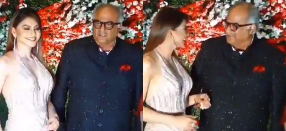Urvashi Rautela and Boney Kapoor at the wedding reception of Aksshay Gada./ Image: Instagram
