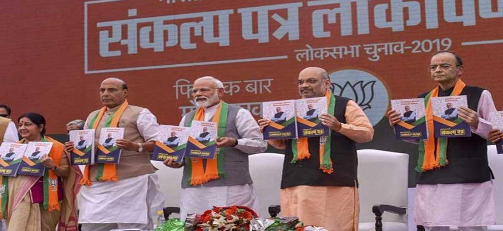 Prime Minister Narendra Modi released the 45-page manifesto titled 'Sankalpit Bharat, Sashakt Bharat' on Monday. (File Photo: PTI)