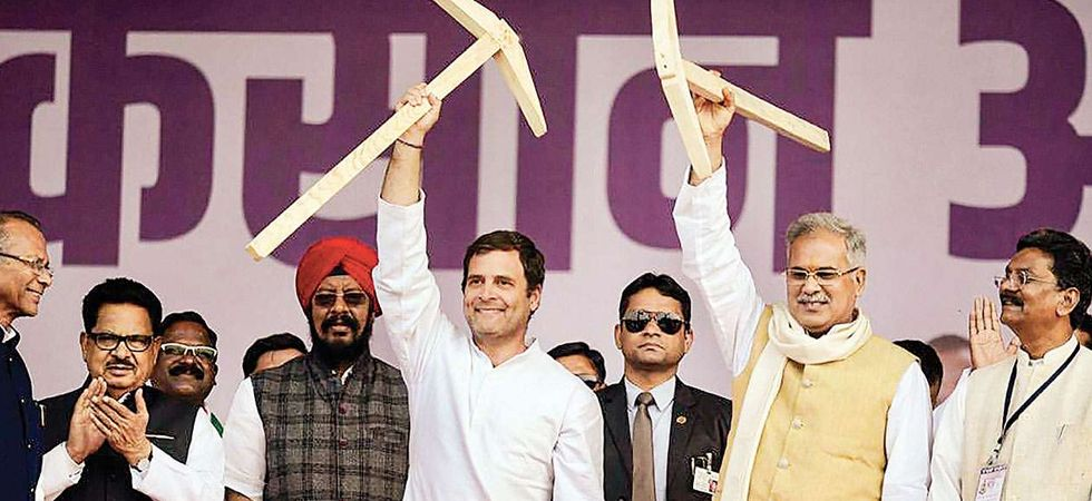 Rahul Gandhi and Bhupesh Baghel at an event in Raipur. (File Photo: PTI)