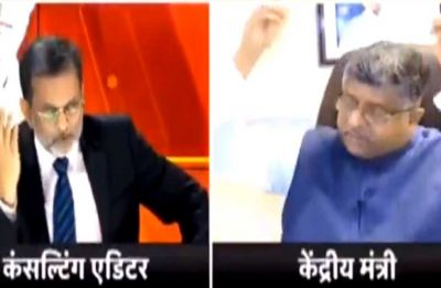Union Minister Ravi Shankar Prasad walks out of live interview when asked about poll promises