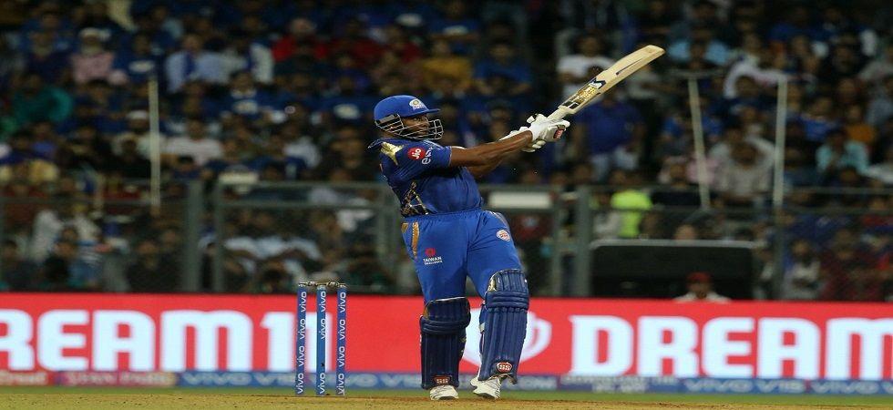 Kieron Pollard blasted 83 off 31 balls as KL Rahul's brilliant century went in vain during Kings XI Punjab's loss to Mumbai Indians. (Image credit: IPL Twitter)
