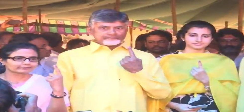 Chief Minister N Chandrababu Naidu and his family members exercised their franchise at a polling station in Undavalli village in the state capital region Amaravati. (Photo: ANI)