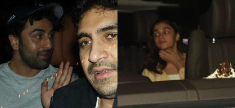 Ranbir Kapoor, Alia Bhatt and Ayan Muekrji spotted outside Karan's house. Image: Viral Bhayani/ Instagram