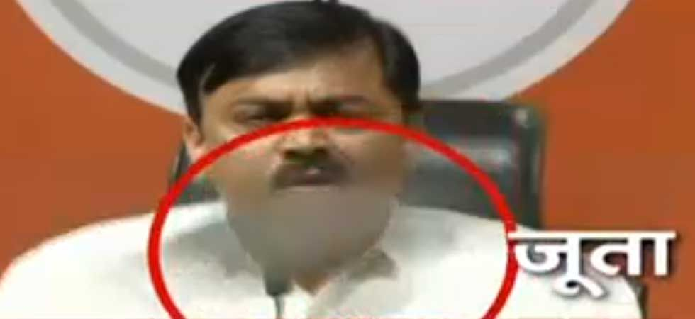 Shoe hurled at BJP spokesperson GVL Narsimha Rao during press conference