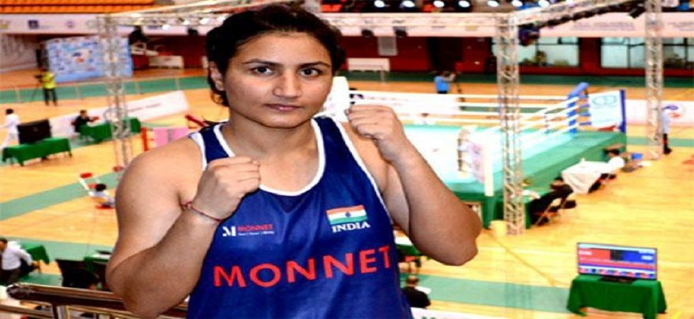 Pooja Rani has assured India of a medal in the 81kg category in the Asian Elite Boxing Championship. (Image credit: Twitter)