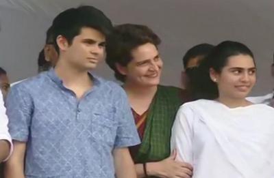 Priyanka Gandhi Vadra's children Raihan, Miraya join election rally in Arrekode