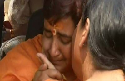 Watch: Teary-eyed Uma Bharti consoles Sadhvi Pragya Singh Thakur after emotional meeting