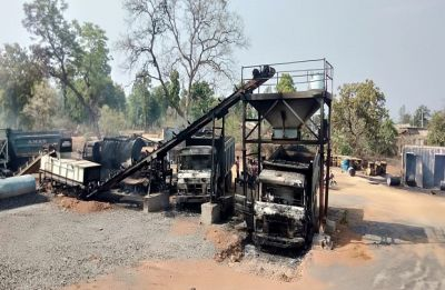 Maoists torch 27 vehicles of road construction company in Maharashtra's Gadchiroli district: Police