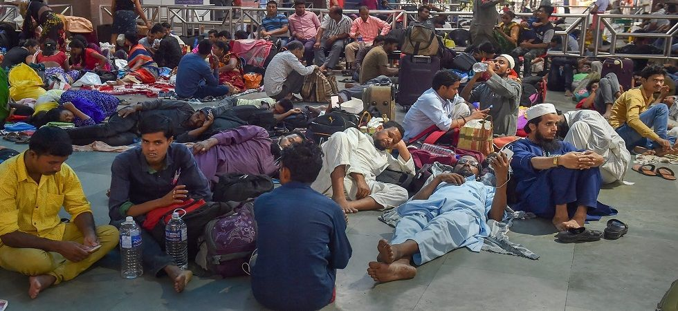 Stranded passengers at a railway station in Kolkata. (Photo: PTI)