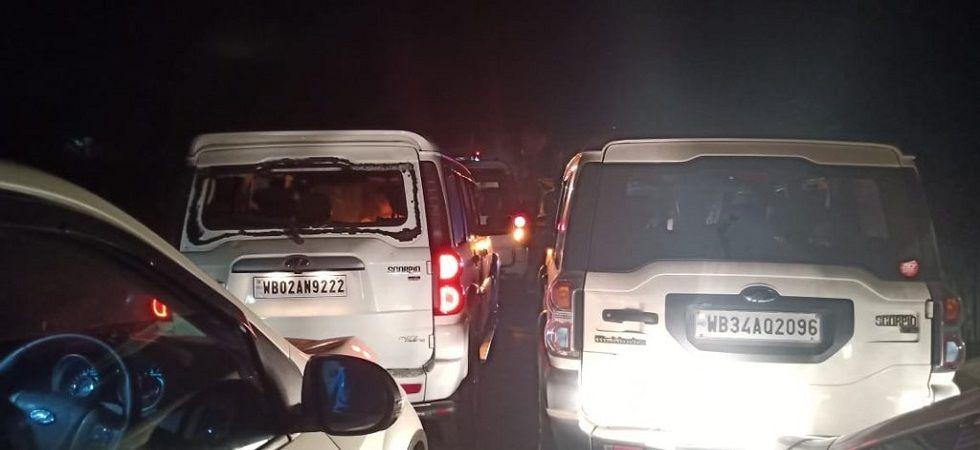 Convoy of Himanta Biswa Sarma, Dilip Ghosh attacked in West Bengal's Purba Medinipur. (Himanta Biswa Sarma/Twitter)