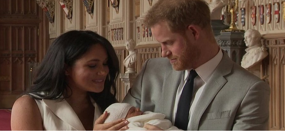 Prince Harry, Meghan Markle appear in public with their new baby son for first time