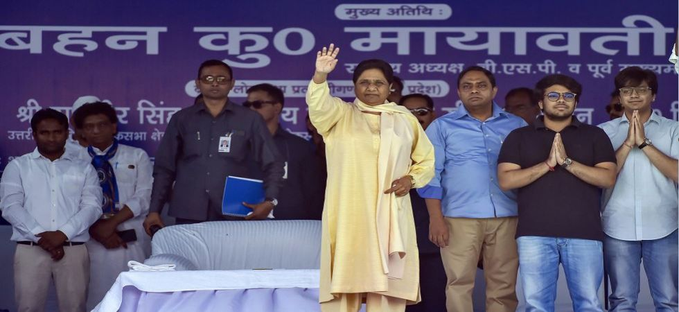 BSP chief Mayawati waves at supporters during election rally in Delhi (Photo Source: PTI)
