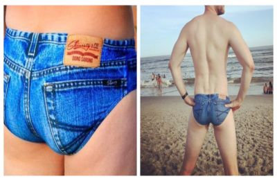 Summer is here but these denim-print 'Jeado' swimming briefs are NOT what we signed up for, CHECK out pics