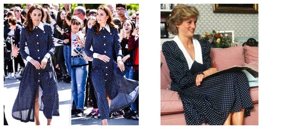 Kate Middleton wears navy polka-dot dress (Photo: Instagram)