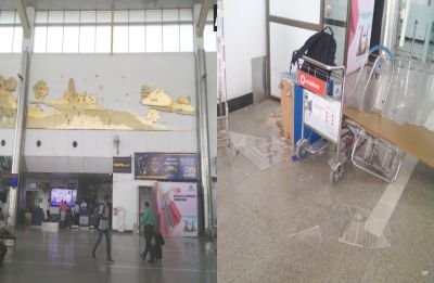 Lucknow: Wall decor at Chaudhary Charan Singh International Airport falls off, close shave for passengers