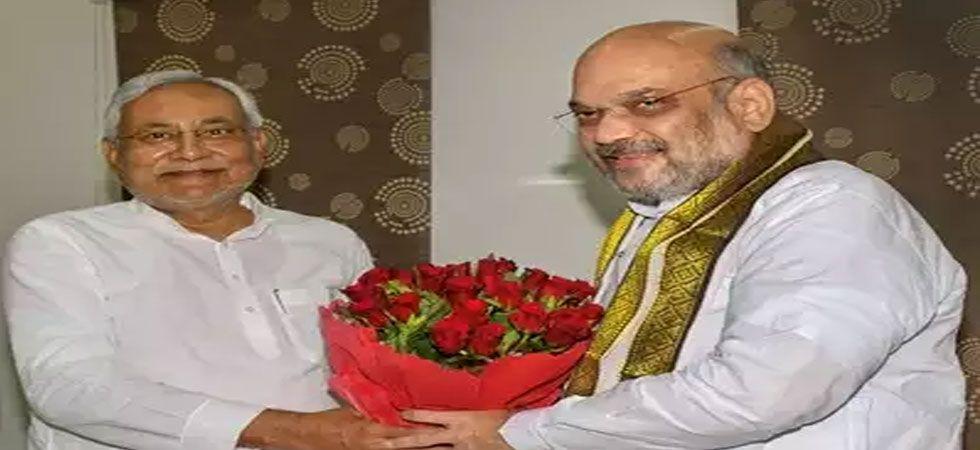 BJP chief Amit Shah with Chief Minister Nitish Kumar. (File Photo: PTI)
