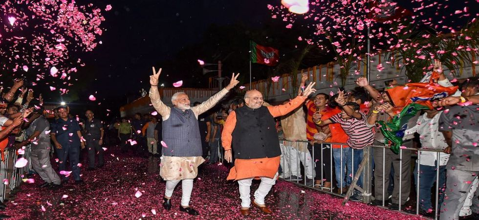 Prime Minister Narendra Modi and BJP president Amit Shah celebrates party's victory (Photo Source: PTI)