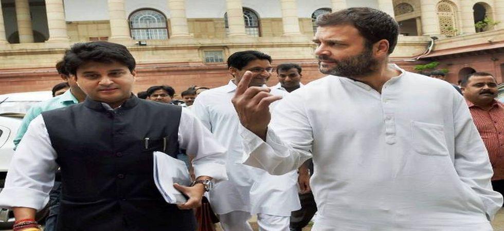 Congress president Rahul Gandhi and Jyotiraditya Scindia