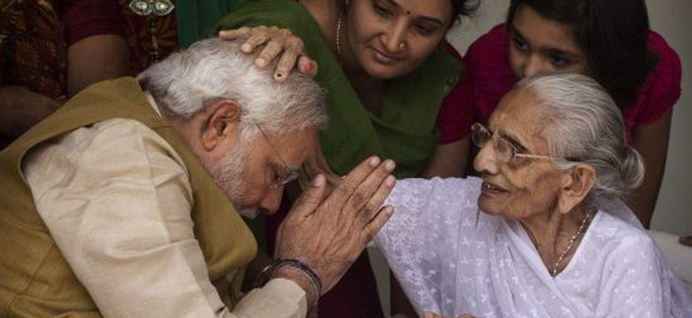 PM Narendra Modi with his mother Heeraben