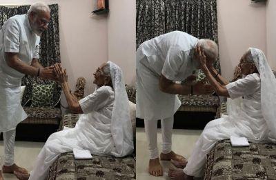 PM Modi meets mother Heeraben at Gandhinagar residence, seeks blessings