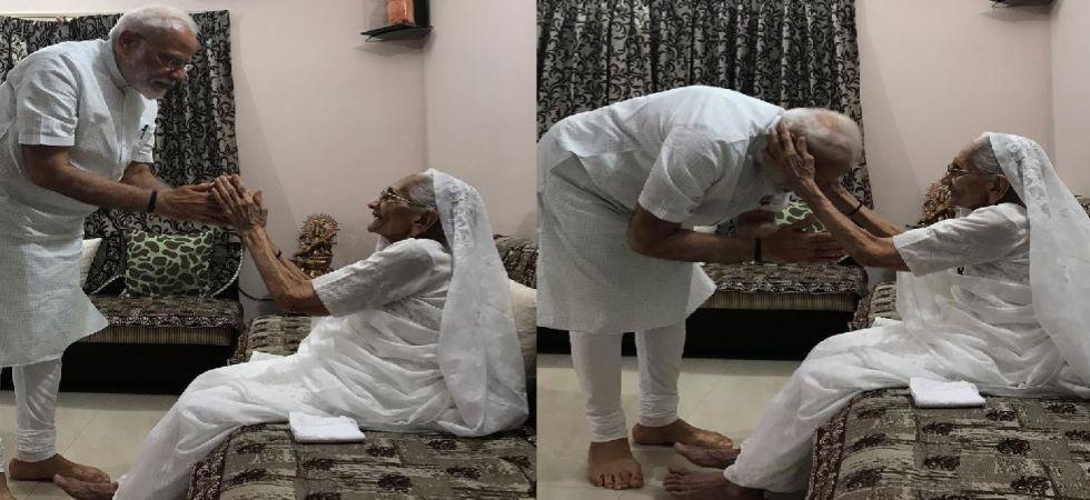 Prime Minister Narendra Modi with mother Heeraben Modi (Photo Source: ANI)
