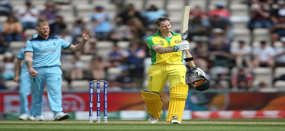Steve Smith blasted a century in the ICC Cricket World Cup warm-up clash against England but endured a tough time as fans were calling him 'cheat'. (Image credit: Cricket World CupTwitter)