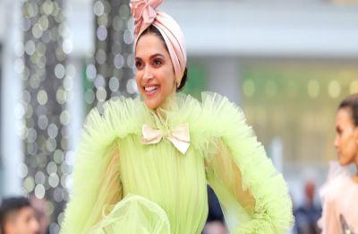 Deepika Padukone slays in a yellow ruffled saree at an event, see PICS