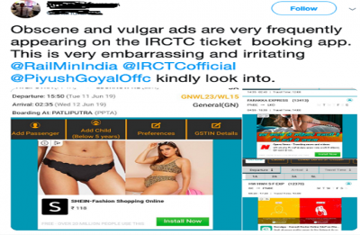Man tries to troll IRCTC for 'vulgar ads' on railway app, the response is EPIC
