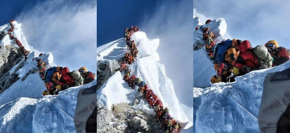 More than 200 mountaineers ascended Mount Everest last week, setting a new record for the highest number of climbers to stand on top of the world in a single day. (Photo courtesy: Ben Fogle/Twitter)