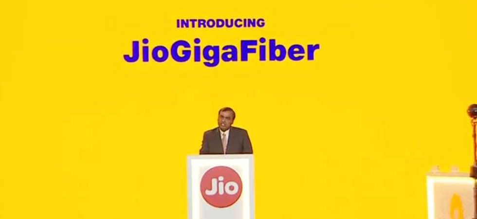 Jio owner Mukesh Ambani during the annual event where Jio GigaFiber was announced. (File Photo)