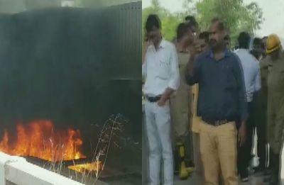 Fire breaks out in a pile of scrap under Delhi's Barapullah flyover, traffic hit